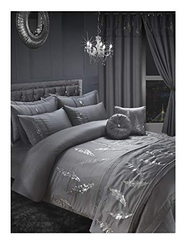 Excellent Leafy Design Embroidery Silver Duvet Set, 100% Polyester Duvet Cover Bedding Set with Pillow Cases - Silver, Single Size
