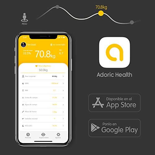 41P7fCHk3GL - Báscula Grasa Corporal Bluetooth Más de 8 Funciones, Báscula Analógica Monitores de composición corporal Para Móviles Andriod y iOS (Negro)