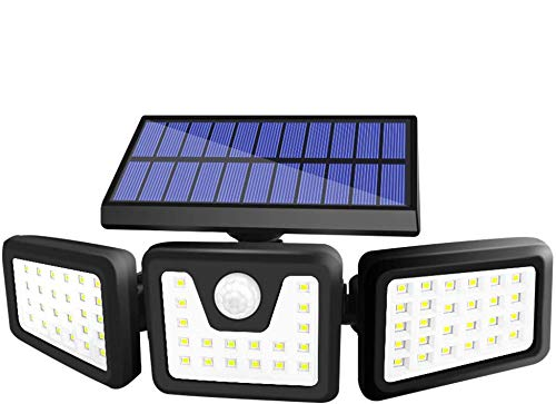 BEACON Solar Lights Outdoor, 800LM Wireless LED Solar Motion Sensor Lights Outdoor, 3 Adjustable Heads, 270° Wide Angle Illumination, IP65 Waterproof, Security LED Flood Light (1Pack)