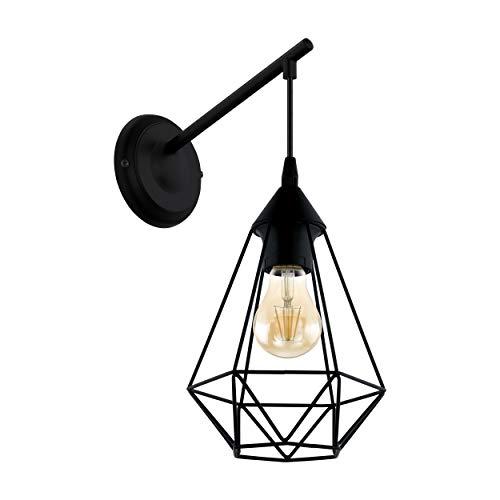 EGLO Wandlampe Tarbes, 1 flammige Vintage Wandleuchte im Retro Look, Material: Stahl, Farbe: Schwarz, Fassung: E27
