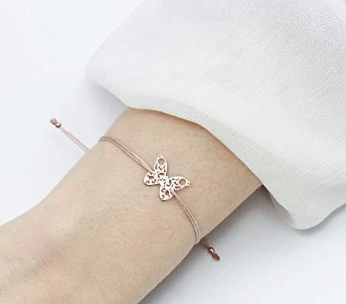 SCHOSCHON Damen Symbol Armband Schmetterling Rosegold-Nude 925 Silber // Geschenk Mädchen Teenager Butterfly Charm Textilarmband Schmuck