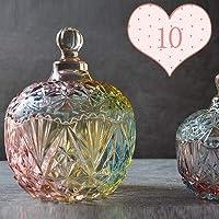RUIMA キャンディバーローソク足ベラスポットキャンドル用品ワックスコンテナを作るカバーキャンドルホルダー付レトロなカラフルなクリスタルガラスの瓶 (Color : (glazed) No. 10)