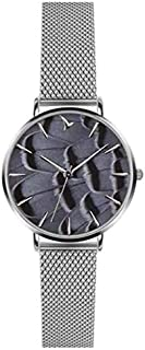 Emily Westwood Women's Feather Print Dial Stainless Steel Band Watch