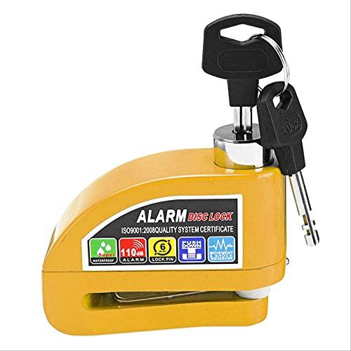HHBB 1 pieza disco de metal freno alarma seguridad antirrobo cerradura con llave adecuada para motocicleta, scooter, bicicleta amarillo