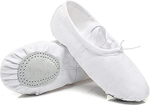 HOOPOO Zapatos de Ballet Lienzo, Ballet de niñas Pisos de Cuero SED Suela Zapatillas de Baile para Mujeres niños niños pequeños, Blanco (Color : White, Size : 29 18.5cm)