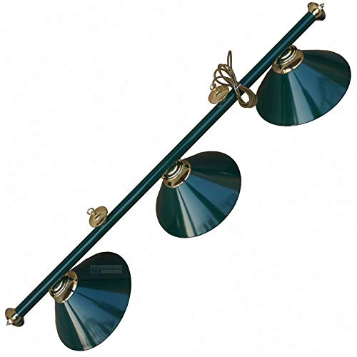 Leisure Pursuits Brass Snooker or Pool Table Light Rail with 3 Green Shades