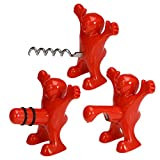 3 pcs Funny Happy Red Man Wine Stopper Novelty Beer Corkscrew & Bottle Opener