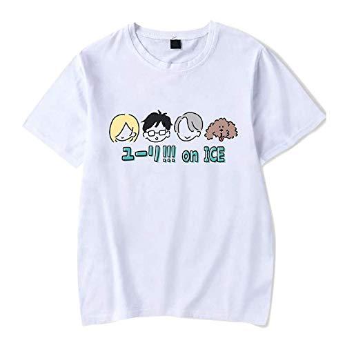 Camiseta Básica Unissex Algodão Yuri on Ice Personagens Anime (Branco, M)