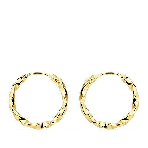 Orecchini Cerchio oro giallo 18 carati Creole intrecciate da donna bambina 14 x 1.5 mm