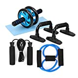 TOMSHOO 5-in-1 AB Wheel Roller Kit, Spring Exerciser Abdominal Press Wheel Pro with Push-UP Bars Jump Rope and Knee Pad Portable <span class='highlight'>Equipment</span> for Home Exercise Muscle Strength Fitness