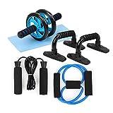 TOMSHOO Rueda Abdominales Fitness Kit 5 en 1 con Push Up Bars de Empuje Cuerda de Saltar Pinza de Mano Núcleo Abdominal...
