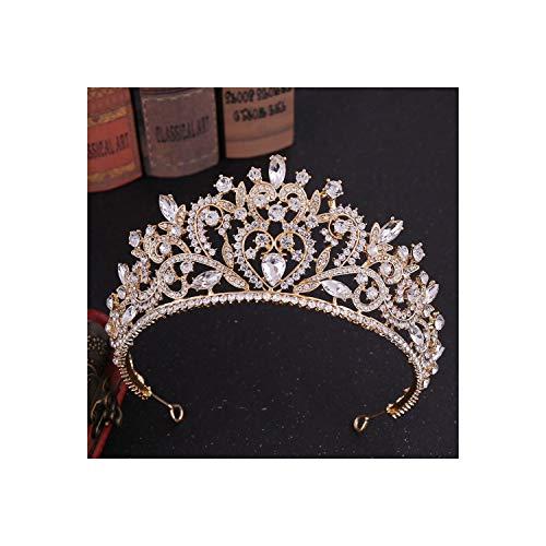 Tiaras da sposa vintage in oro rosa con cuore rosa e cristallo con diadema velo diadema, oro bianco