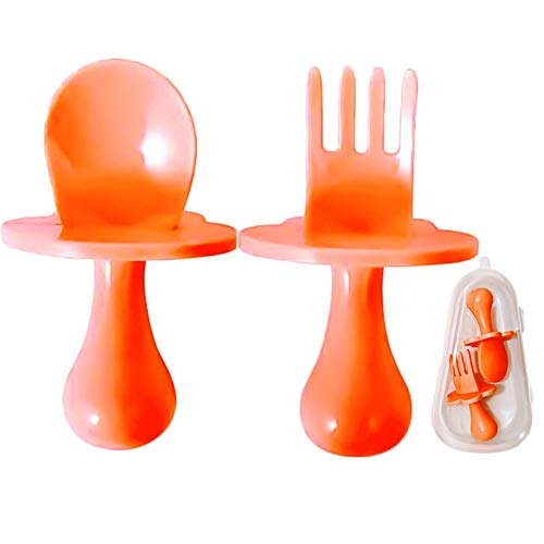 Baby Spoons Forks Set,Easy Grip Toddler Cutlery Set,Baby Self Feeding Training Spoon and Fork with Storage Box BPA Free (7x4.5cm,Orange)