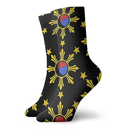 Filipino Basketball Flag Socks Tube Socks for Men Women, Black Socks Running Socks
