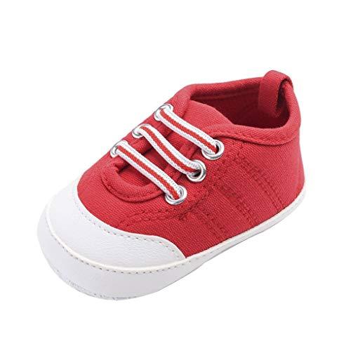 Baby Canvas-Turnschuhe/Dorical Unisex Babyschuhe Krabbelschuhe Lauflernschuhe Erste Wanderer Schuhe Segeltuchschuhe Weiche Sohle Säuglingskleinkind für Baby Mädchen Baby Jungen(Rot,12 EU)