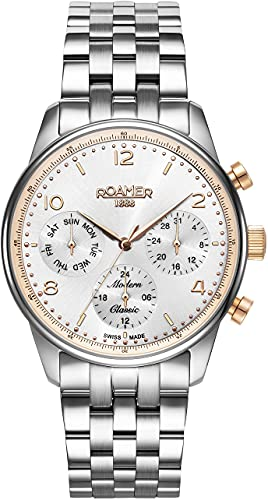 Roamer Reloj de pulsera para hombre, moderno, clásico, 42 mm, cronógrafo, ventana de fecha, correa de acero inoxidable 509902 49 24 20