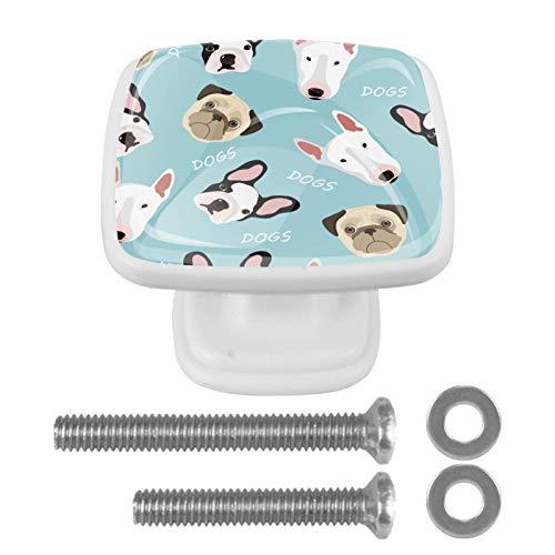 Paquete de 4 pomos para cajones de aparador, tiradores de cocina, pomos de cristal para armarios de cocina, aparador, armario, lindos perros