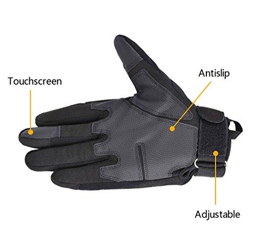 Coofit Taktische Handschuhe Winter Motorrad Handschuhe Herren Vollfinger Army Gloves Biking Skifahre Handschuhe (Schwarz, XL) - 7