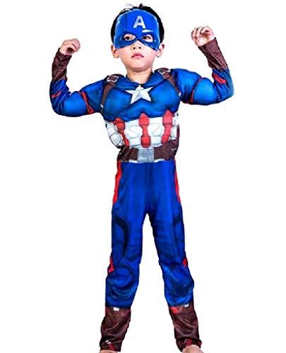 Costume Capitan america bambino vestito carnevale costumino Busto Muscoloso Supereroe e Maschera Taglia L - 6 - 7 anni travestimento Halloween Cosplay ottimo come regalo per natale o compleanno