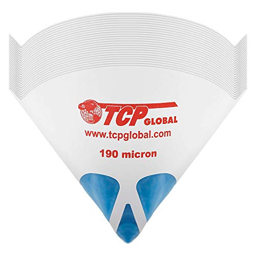 TCP Global 50 Pack of Paint Strainers with Fine 190 Micron Filter Tips - Premium 'Pure Blue' Ultra-Flow Blue Nylon Mesh - Cone Paint Filter Screen