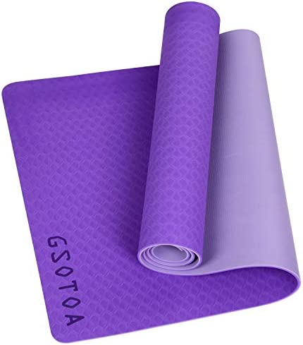 """GSOTOA Upgraded Textured Non-Slip Yoga Mat with Bag Lanyard Knitted Headband, Phthalate-Free Skin-Friendly Exercise Mat and Training Mat for Gyms, Training and Yoga - 72""""x 24"""" x 6mm"""