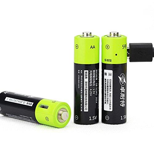 2/4pcs Znter USB pile rechargeable 1250mAh1.5V AA batterie écologique pour jouet électronique