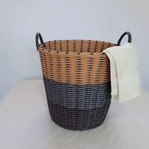 Wäschekorb Handgeflochten, Basket Laundry mit Luftdurchlässiges für Kleidung und Spielzeugaufbewahrung, Wäschesack Plastik Wäschesortierer, 2pcs,Gray rice-42