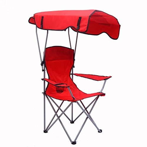 SilverTree Faltbarer Campingstuhl mit Sonnenschutz, leicht, tragbar, faltbar, mit Getränkehalter und Tragetasche für Outdoor, Angeln, Strand, Reisen, Camping, Terrasse, Unisex, rot, Einheitsgröße