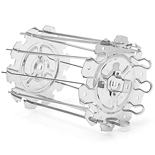 GRILL KEBAB Ago Ago, Acciaio inossidabile Schizzi di spruzzo rotante in acciaio inox, tamburo rotante per barbecue con 10 bastoncini in metallo, rotemiserie frame system maker, per forno universale