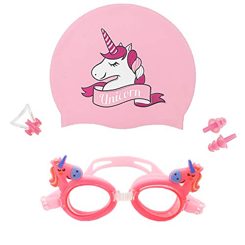 Kids Swim Cap&Goggle, Fun Swimming Cap&Goggle for Kids &...