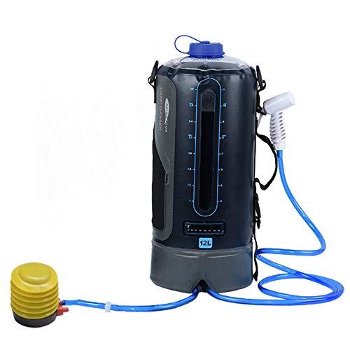 ducha portatil camper ducha solar para acampar bolsa de TPU de 12L con manguera larga extraíble bomba presión boquilla pantalla de temperatura Bolsa de baño de escalada plegable ligera al aire libre