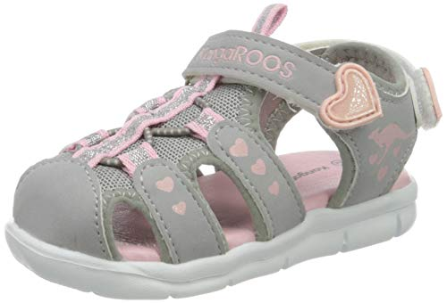 KangaROOS Unisex Baby K-Mini Sandalen, Vapor Grey/English Rose Glitter 2109, 25 EU