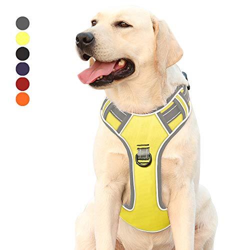 Hundegeschirr für Große Hunde Anti Zug Geschirr No Pull Sicherheitsgeschirr Kleine Mittlere Hunde Brustgeschirr Dog Harness Weich Gepolstert Atmungsaktiv Grün L