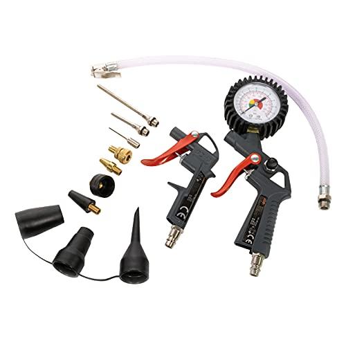 MAUK® Druckluft / Kompressor Set | 8 bar - 13 tlg. | Reifenfüller & Ausblaspistole für Ihre Werkstatt | inkl. Verlängerungsdüsen & Adapter