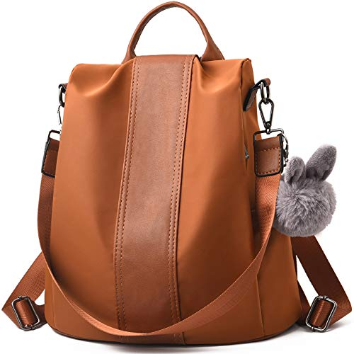 Barwell Women Backpack Ladies Rucksack Waterproof Nylon School bags Anti-theft Dayback Shoulder Bags, Brown