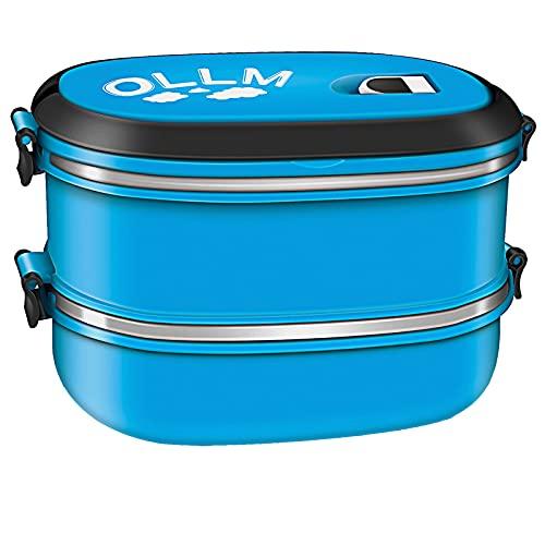 Lunch box portavivande termico Bento a doppio strato,Contenitore in acciaio inossidabile,Può essere impilato o utilizzato separatamente, facile da trasportare, adatto a studenti e impiegati (blu)