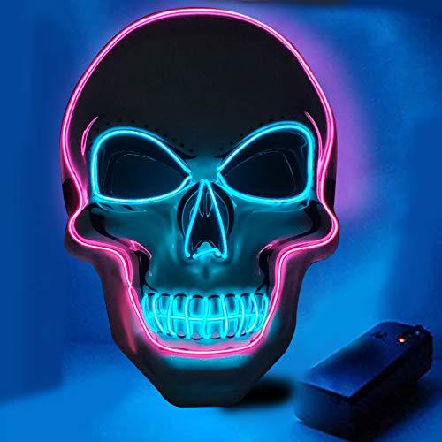 AYUQI Máscara LED Halloween y Guantes de Esqueleto Blancos, Craneo Esqueleto Mascaras Brillante Light Up 4 Modos para Halloween Carnaval Cosplay,Alimentado por batería (no Incluido)