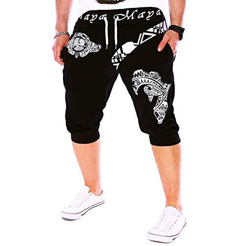 Herren Shorts, Muster Gedruckt Jogginghose Bermuda Kurze Hose Fitness Cargo Sporthose Freizeit Trainingsshorts Slim Fit Shorts für Männer Sport Hose mit Taschen