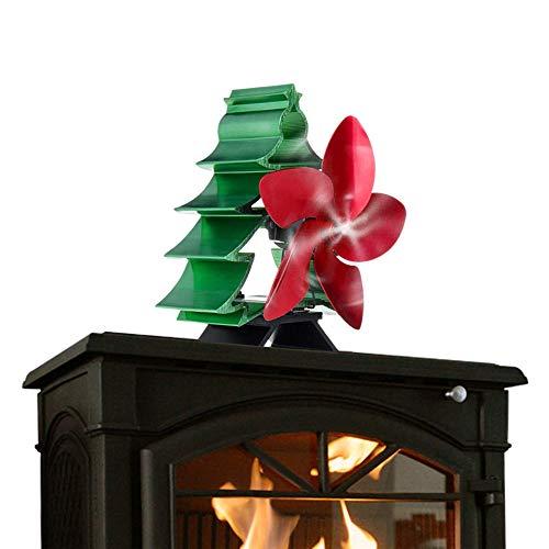 JIASHU Ventilador ecológico Grande de 5 Palas con Estufa de leña, Ventilador de Chimenea con Quemador de leña, Ventilador silencioso ecológico, Ventilador de distribución de Calor, Forma navideña