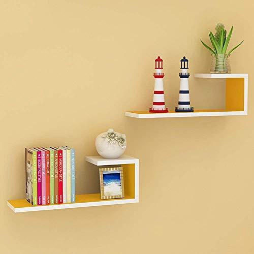 Allamp Blanco-Amarillo de Madera de Tipo L * Shelf 2 (PCS), la Pared Decorativos Habitación Sala Estante 60 * 14 * 20cm