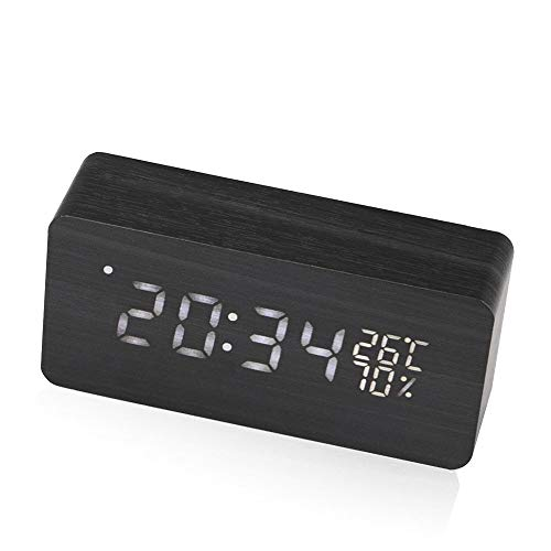 Wekker Digitale LED Alarm Clock USB/Batterij aangedreven Thermometer Klok Met Sound Control Home Decor (Color : Wood Black, Size : Free)