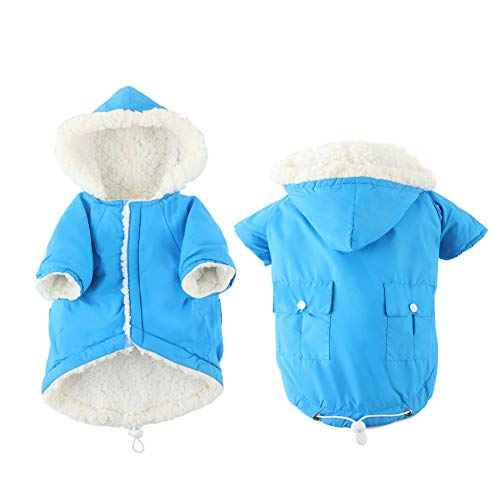 EMUST Dog Coat for Winter, Small Dog Coats for Winter, Dog Clothes for Small Dogs Boy with Fleece Lined, Cozy French Bulldog Clothes for Dogs, Blue, M