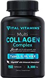 Multi Collagen Pills (Types I,II,III,V,X) 150 Capsules 3300 mg Grass Fed Collagen Peptides Enhanced Absorption for Anti-Aging, Hair Growth & Nails, Healthy Joints & Skin, Hydrolyzed Protein Supplement