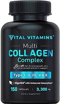 Vital Vitamins Multi Collagen Complex - Type I II III V X Grass Fed Non-GMO 150 Capsules