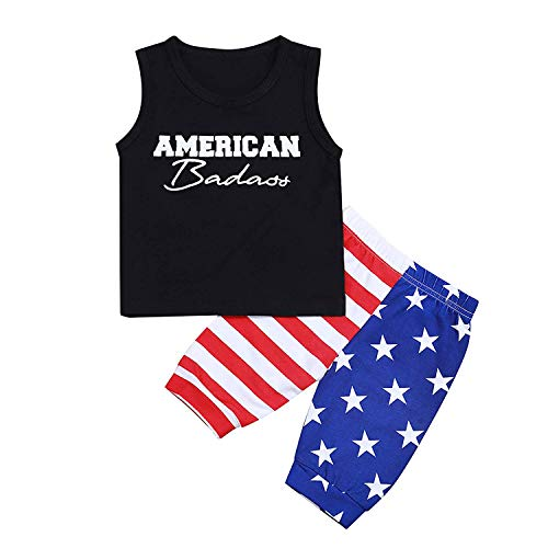 2 Styles Toddler Kids Baby Boys Patriotic 4th of July Independence Day Sleeveless T-Shirt Vest+US...