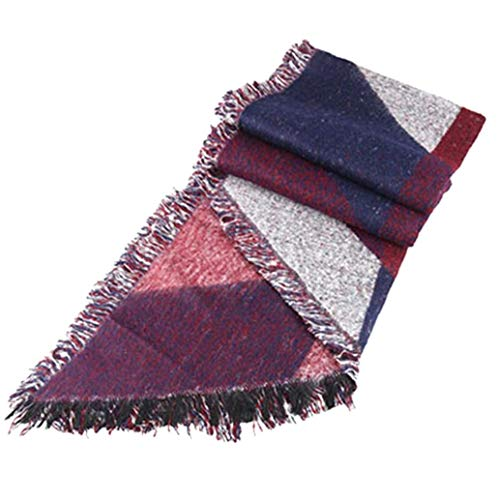 XKJFZ 1PC Winter-Warmer Schal-Plaid-Schal-Frauen-Dreieck Schal Warm Tartan Schal Schal und Wraps Cashmere Gefühl Schal Geschenk für Frauen Mädchen (weinrot) Winter warm Supplies