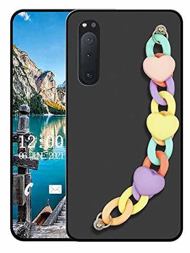 Sunrive Funda Compatible con Sony Xperia 5 II, Colgante movil con Cuerda Lindo Silicona Mate Slim Fit Gel Carcasa Case Bumper Espalda Cover Pulsera(L corazón 1)
