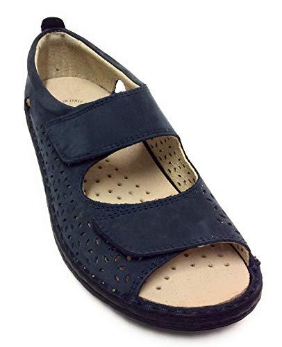 Grunland SC4881 Sandalo Donna Chiusura Regolabile A 2 Strappi (Blu, Numeric_39)