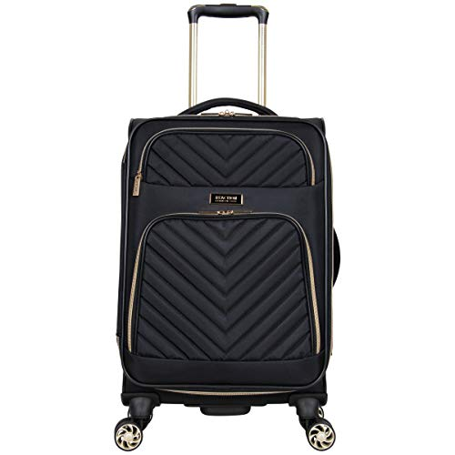 Kenneth Cole Reaction Women's Chelsea 20' Chevron Quilted Softside Expandable 8-Wheel Spinner Carry-On Suitcase, Black, Inch