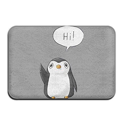KLing Felpudos Lindos Hola pingüino Estera Agradable de la Puerta Estera de Bienvenida Alfombrilla Antideslizante Felpa coralina Alfombra de Piso de la Cocina Interior Alfombra de la PUE